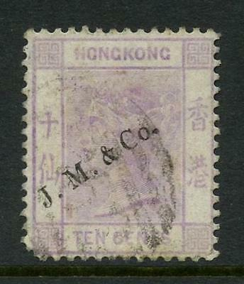 HONG KONG QV 1880 10c CROWN CC...AGENT OVERPRINT JM + CO JARDINE MATHIESON