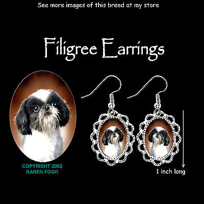 JAPANESE CHIN / SHIH TZU DOG - SILVER FILIGREE EARRINGS Jewelry