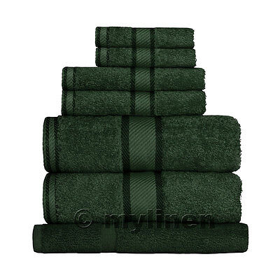 Forest Green 100% Cotton Towel Range Sets or Pcs Bath Sheet Towel Hand Face Mat