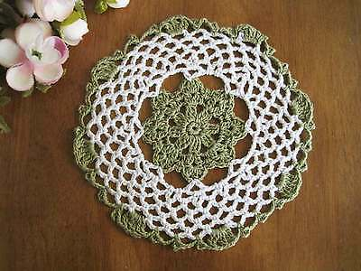 Chic Green White Flower Hand Crochet Cotton Doily