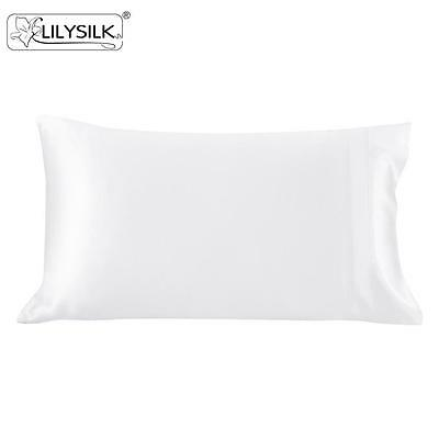 Silk Pillowcase Terse 100% Mulberry 19 Momme White STD/KING All Sizes Lilysilk