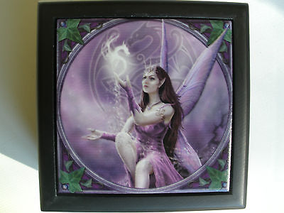 Anne stokes tile Wooden Box Keepsake trinket jewelry Fae fantasy Fairy Celtic