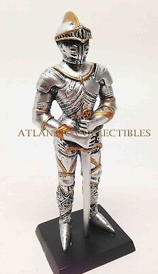 "Castle Guard Statue Medieval Knight of Valor Crusader 4"" Tall Figurine Miniature"