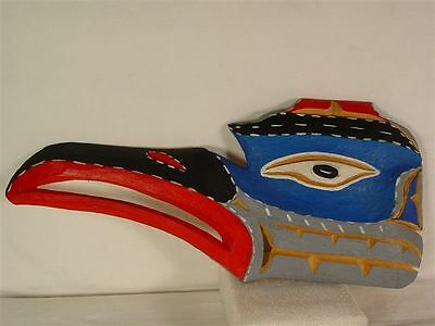 NORTHWEST COAST NATIVE ART YELLOW CEDAR  HAND PAINTED GREAT BLUE HERON