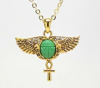 Lead Free Ancient Egyptian Scarab Pendant Necklace Gold Tone Jewelry Accessory