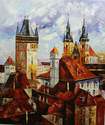 Original Prague Oil painting Wall art Deco On Canvas knife Hand Painted prg018