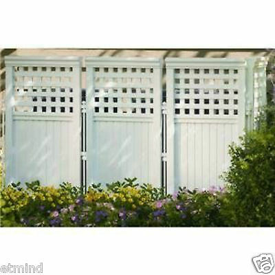 Suncast 4 Panel Resin Wicker Outdoor Screen Privacy Fencing WHITE