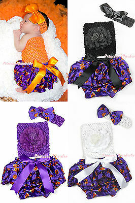 Halloween Baby Crochet Tube Top with Purple orange Pumpkin Bloomer Pantie NB-3Y