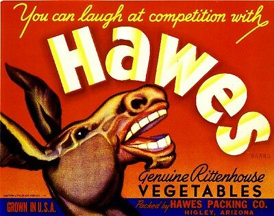 Higley Arizona Hawes Donkey Mule Vegetable Crate Label Vintage Art Print