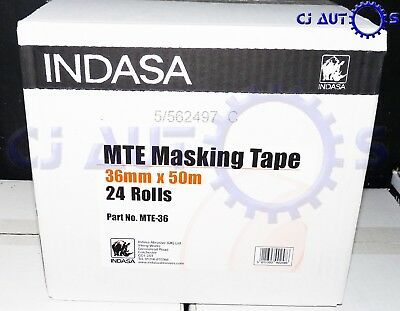 "Indasa 36mm Low Bake Masking Tape Box 1.5""Inch 24 Rolls High Temperature 80 Degr"