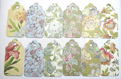 Vintage Floral -  Lot of 6, 12, 24 pieces Scallop Hang Tags, Gift Tags Fast Ship