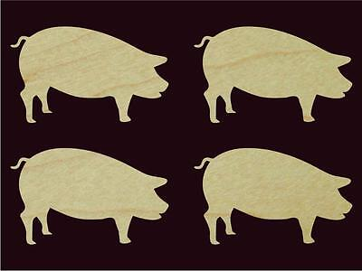 "4 pcs 5.5"" Wide pig Animal shaped Natural Hardwood Cutout Sanded Finish"
