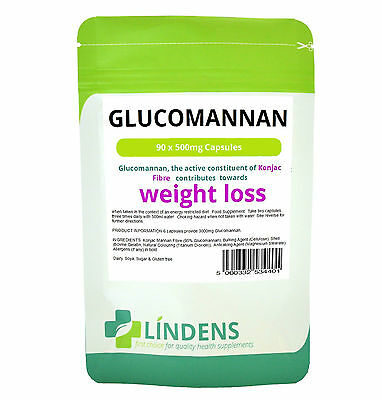 Glucomannan Capsules 90 x 500mg Konjac Fibre HIGH STRENGTH Weight Loss Appetite