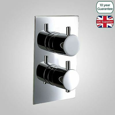 Round 1 Way Outlet Bathroom Concealed Thermostatic Shower Valve Mixer Chrome
