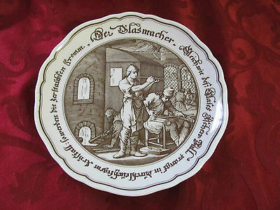 Hutschenreuther brown white plate glassblower Exclusive for Pieroth Germany