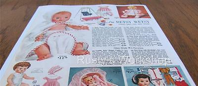 1961 Ideal BIG BETSY WETSY Doll & SWING /DEW DROP Doll Catalog AD (Reproduction)