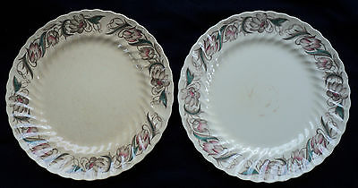 2 SUSIE COOPER 1417 ENDON 10 1/8-inch DINNER PLATES ENGLAND 1938 -