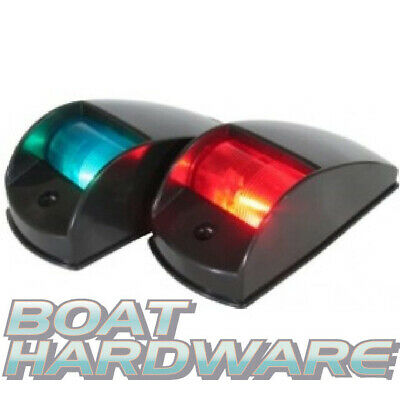 Pair of Marine NAV 12v LIGHTS BLACK Side Mount Port & Starboard Boat Navigation