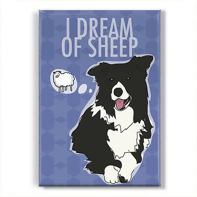Border Collie Gifts Cute Refrigerator Magnets - I Dream of Sheep - Pop Doggie
