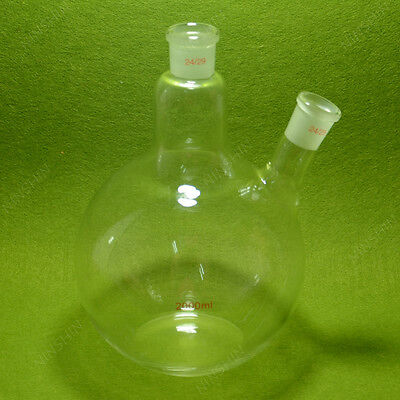 2000ml 2 neck flat bottom Boiling Flask,24/29 joint,Glass flask,lab glassware