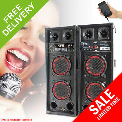 Pair 2x6.5 Inch Active Speakers SD USB Mic Woofer DJ Disco PA Party Karaoke 600W
