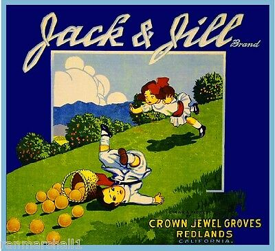 Redlands Jack & Jill Orange Citrus Fruit Crate Label Art Print