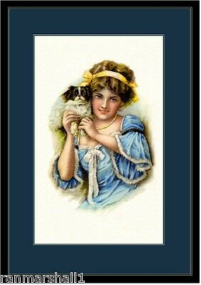 English Picture Poster Print Beautiful Girl and Japanese Chin Puppy Dog Art