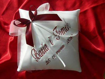 """PERSONALISED wedding ring cushion / pillow 55 colours!!!  6"""" x 6"""""""