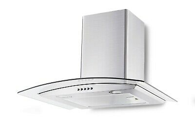 Curved Glass and Stainless Steel Cooker Hood 60cm Chimney Canopy Fan Kitchen