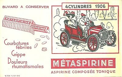 BUVARD METASPIRINE + Automobile 4 CYLINDRES 1906