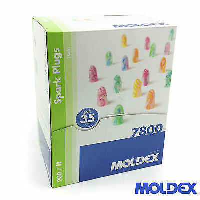 400 MOLDEX SPARK PLUGS Heavy Duty EARPLUGS 32dB NRR (200 Pairs)   - FREE UK P&P