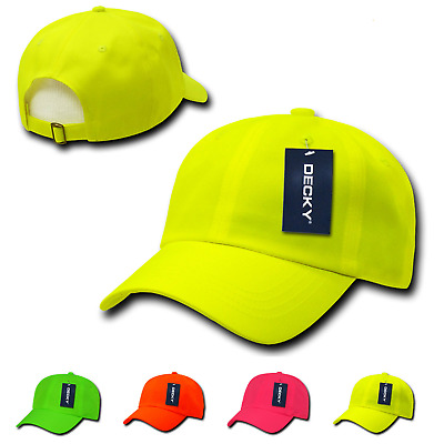 1 Dozen Decky Neon Pre Curved Bill 6 Panel Low Crown Dad Hats Caps Wholesale