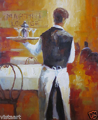 """High Quality Hand Painted Oil On Canvas 20""""x24"""" ~Waiter with Martinis~"""