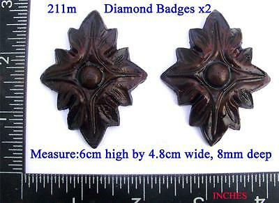 211m Pair of Diamond shape Badges for Vienna regulator clock cases,  DIY,