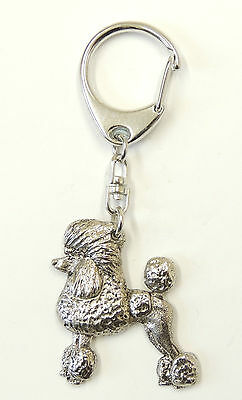 Poodle (Continental Cut) Silver Keyring