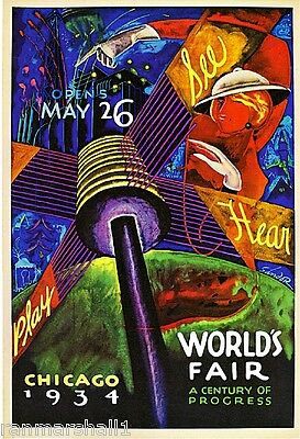 1934 Chicago Illinois World's Fair Art Travel Advertisment Poster Print