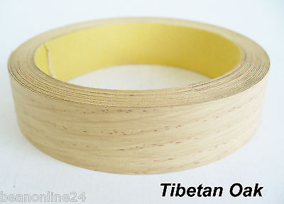 Iron-On Melamine Veneer Edging Tape - TIBETAN OAK - 21mm x 5 metres - Pre Glued
