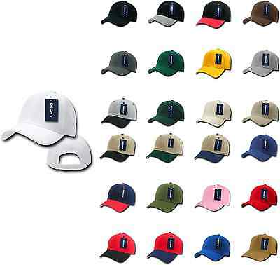 DECKY Deluxe Polo Dad Baseball Hats Caps Hook Loop Closure Solid Two Tone Colors