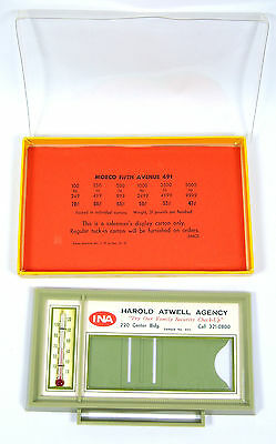 Vintage 1970's Advertising Salesman Sample THERMOMETER Insurance Company