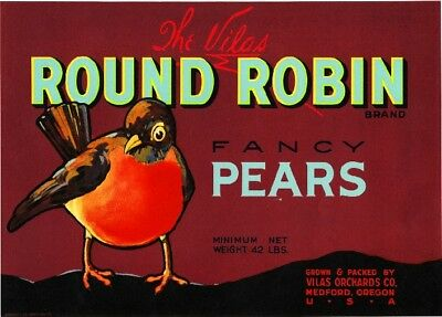 Medford Oregon Round Robin Red Version Pear Fruit Crate Label Art Print