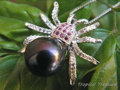 'Black Spider' Cultured 11-12mm Pearl Pendant & 925 SOLID Sterling Silver chain