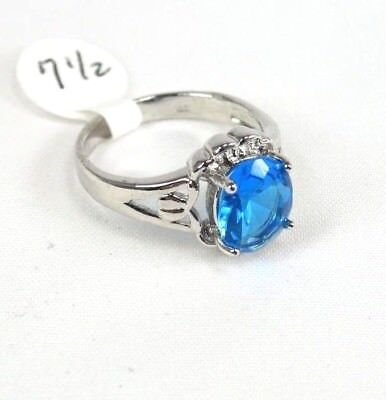 "R#2447 ""Simulated"" Sea Blue Topaz gemstone ladies ring 18K WGP size 7.5"