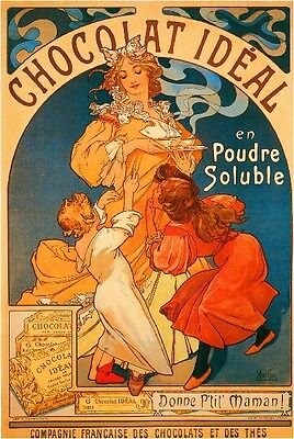Early 1900's French Chocolat Ideal Food & Wine Advertisement Art Poster Print