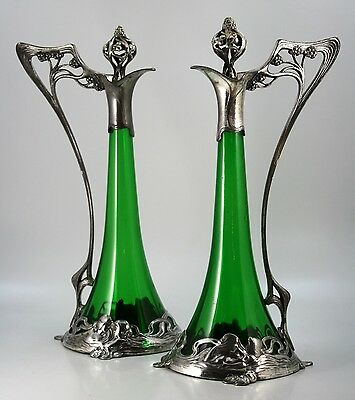WMF Pair of Art Nouveau Decanters with Maidens