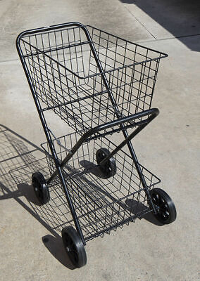 Shopping Trolley Double Steel Basket, Collapsible Shopcart Cart 2 Tier