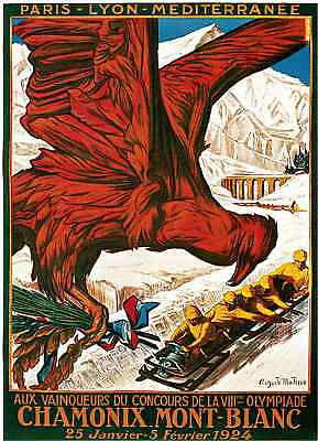 1924 Winter Olympics French France Art Travel Advertisement Poster Print