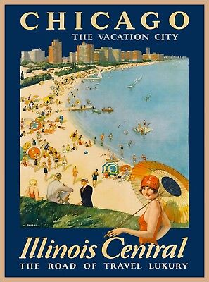 1929 Chicago Illinois Art Vintage United States Travel Advertisement Poster