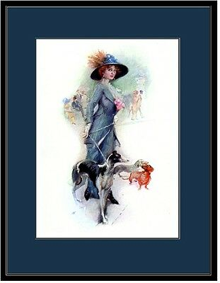 English Print Borzoi Dachshund Puppy Dog Victorian Lady Picture Poster Art