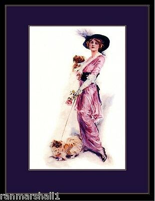 English Picture Print Pekingese Puppy Dog & Beautiful Victorian Lady Art Poster