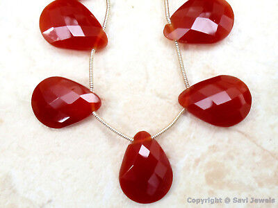 CARNELIAN CHALCEDONY 20mm Faceted PEAR (5 Gorgeous Pear Drops) 60Ct